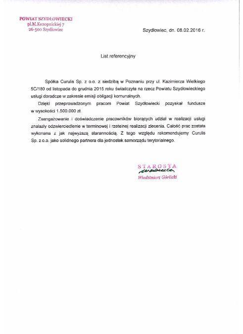 Emisja obligacji - P. Szydłowiecki