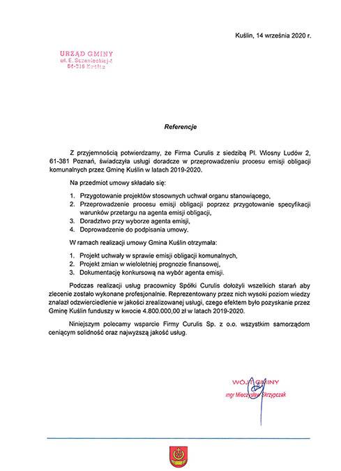 Emisja obligacji komunalnych - Kuślin