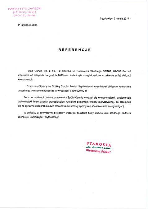 Emisja obligacji - Powiat Szydłowiecki