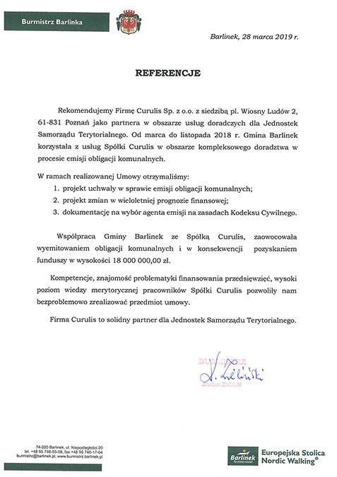 Emisja obligacji - Barlinek