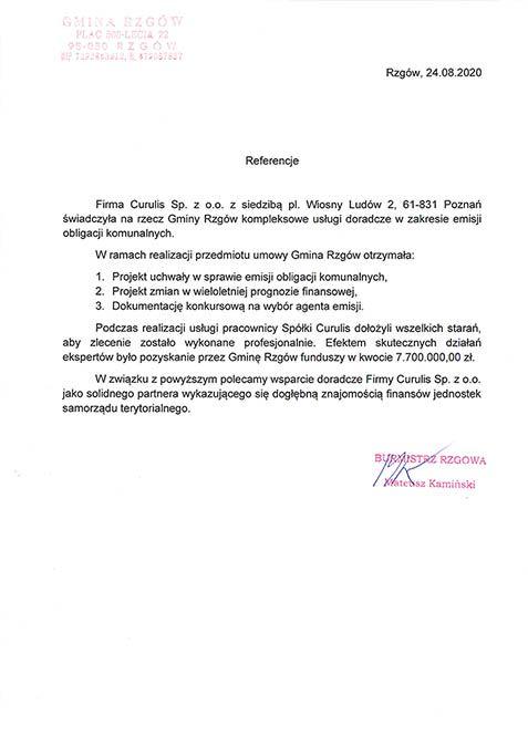 Emisja obligacji komunalnych - Rzgów