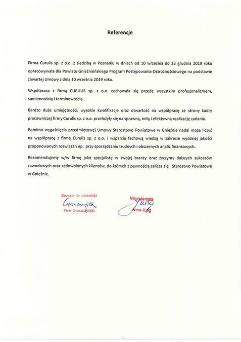 Program postępowania ostrożnościowego - Powiat Gnieźnieński