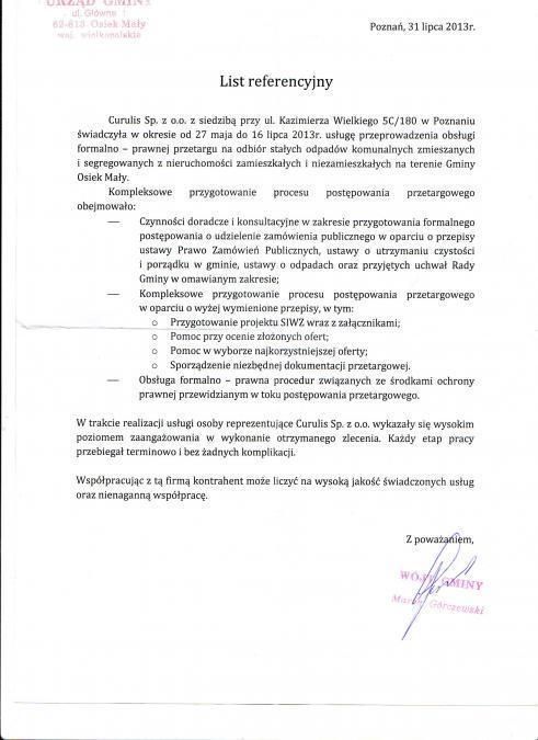 Przetarg - odpady - Osiek