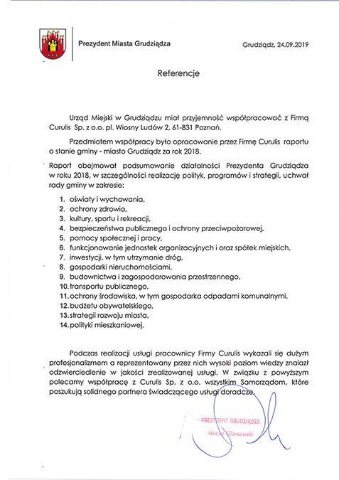 Raport o stanie miasta - gminy Grudziądz
