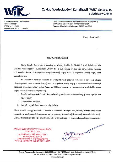 Taryfa - Zakład Wodociągów i Kanalizacji - Żnin