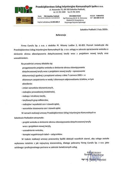 Taryfa - PUIK Sokołów Podlaski